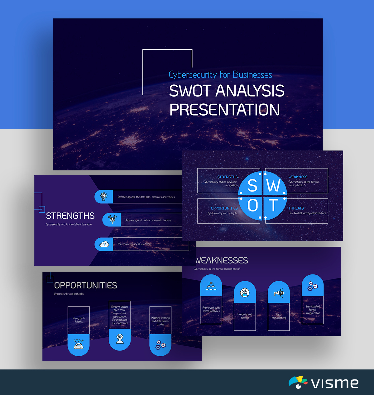 A blue and black cybersecurity SWOT analysis template available in Visme.