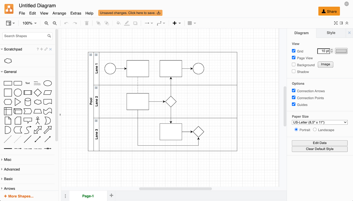 A screenshot of the Draw.io diagramming interface.