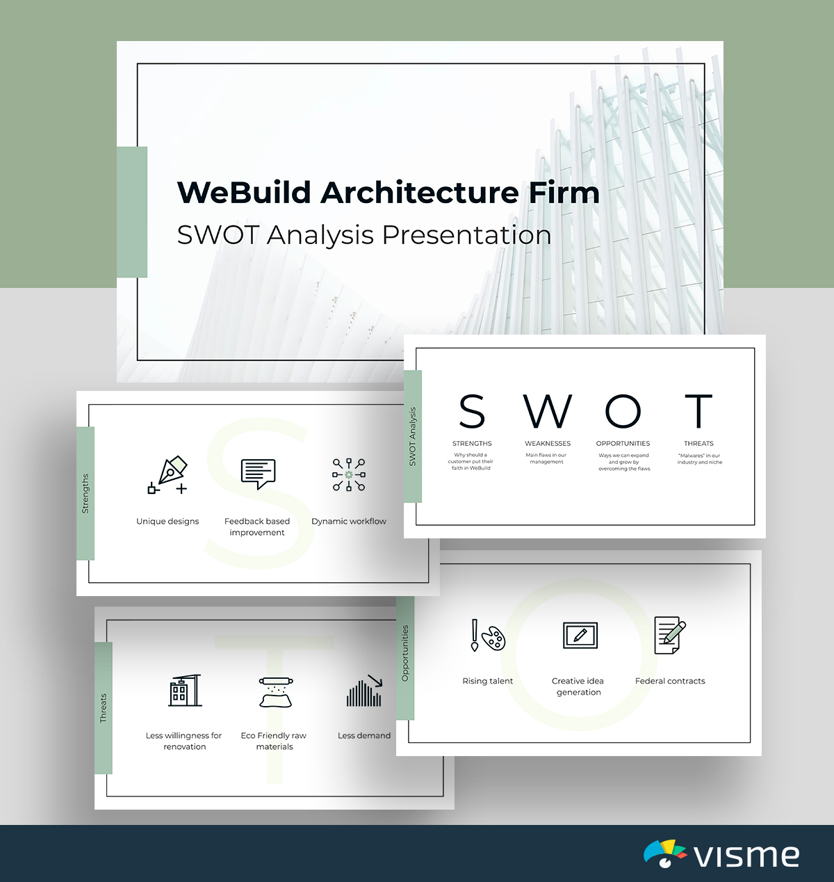 A white and green engineering SWOT analysis template available in Visme.