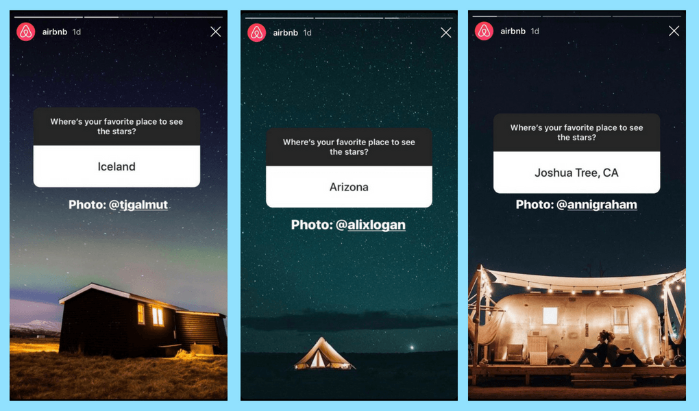 A screenshot of Instagram stories using the questions feature.