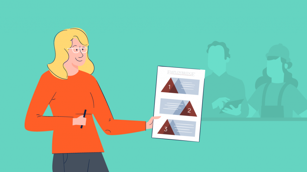 An illustration of a woman sharing information with an audience.