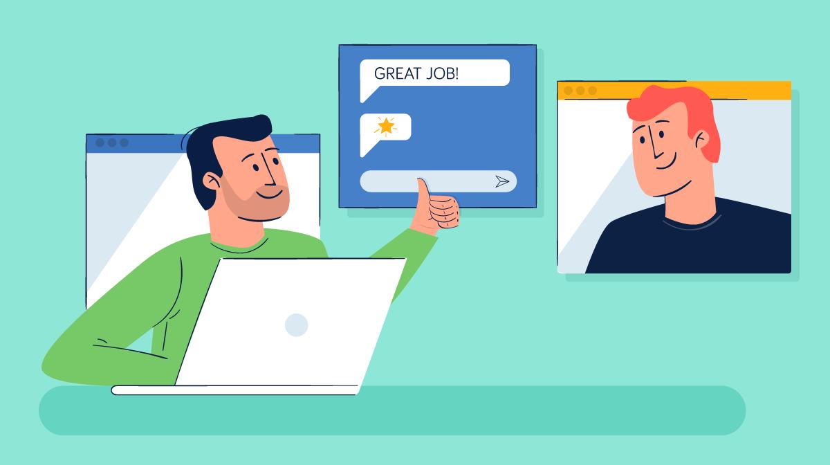 An illustration of a boss telling a team member good job.
