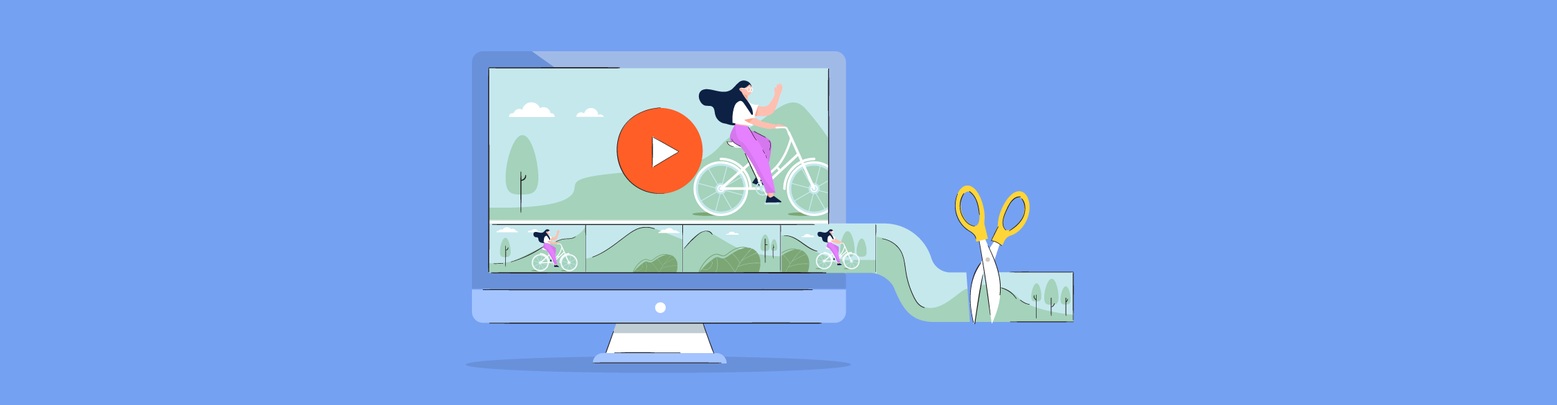 An illustration of a video of a woman riding her bike being trimmed.