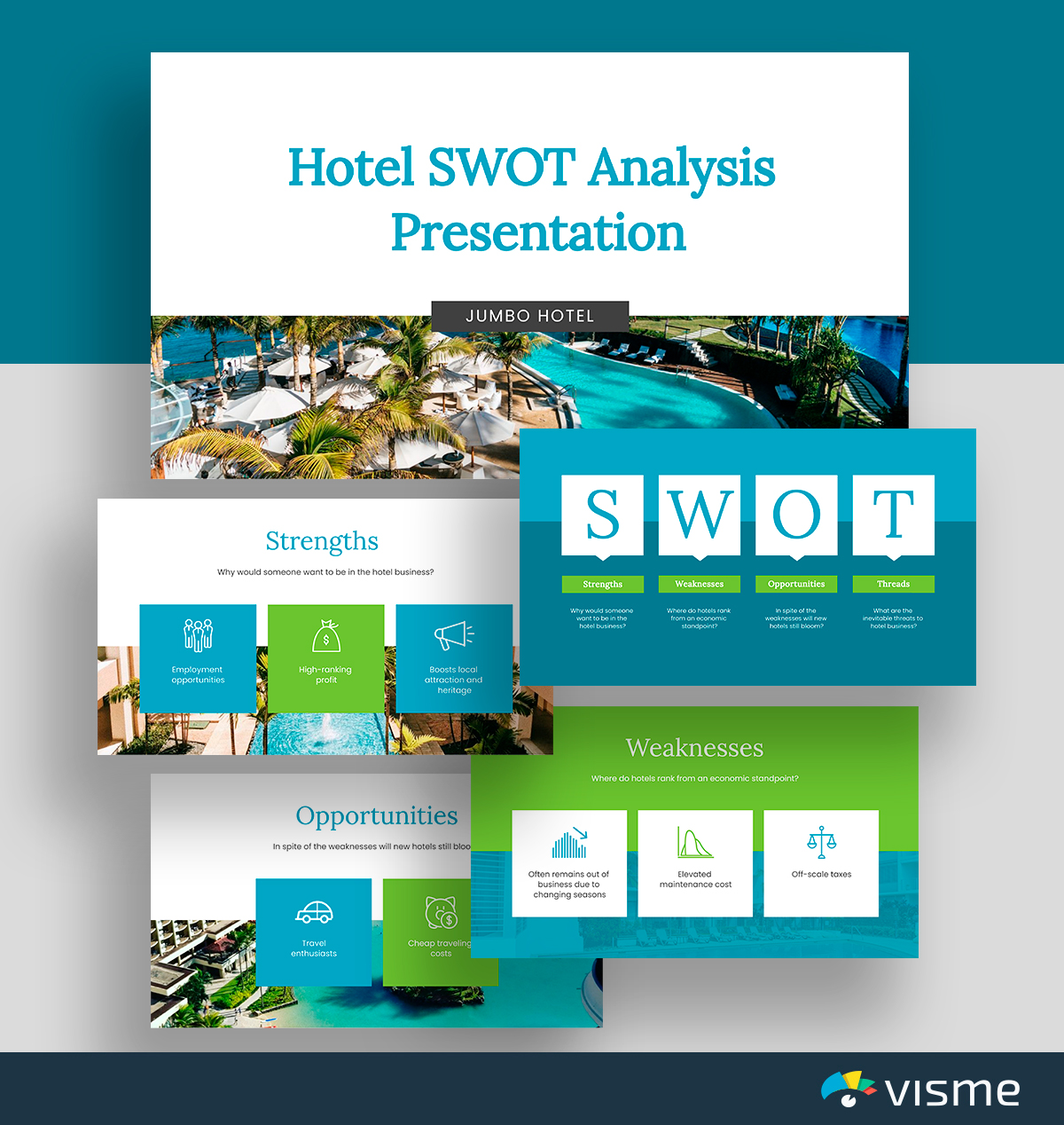 A green and teal hotel SWOT analysis template available in Visme.