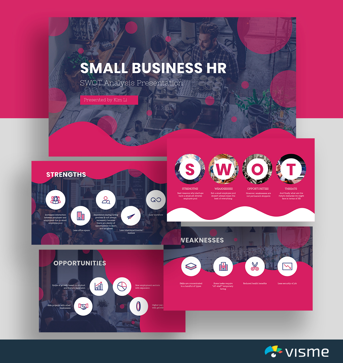 A grey and pink HR SWOT analysis template available in Visme.