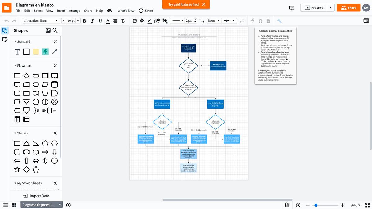 A screenshot of the Lucidchart diagramming interface.