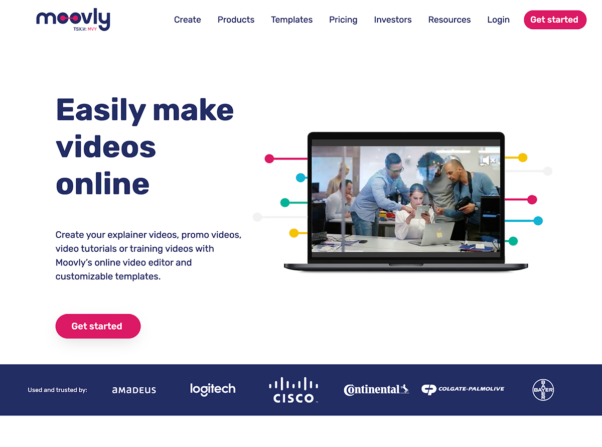 A screenshot of Moovly's website.