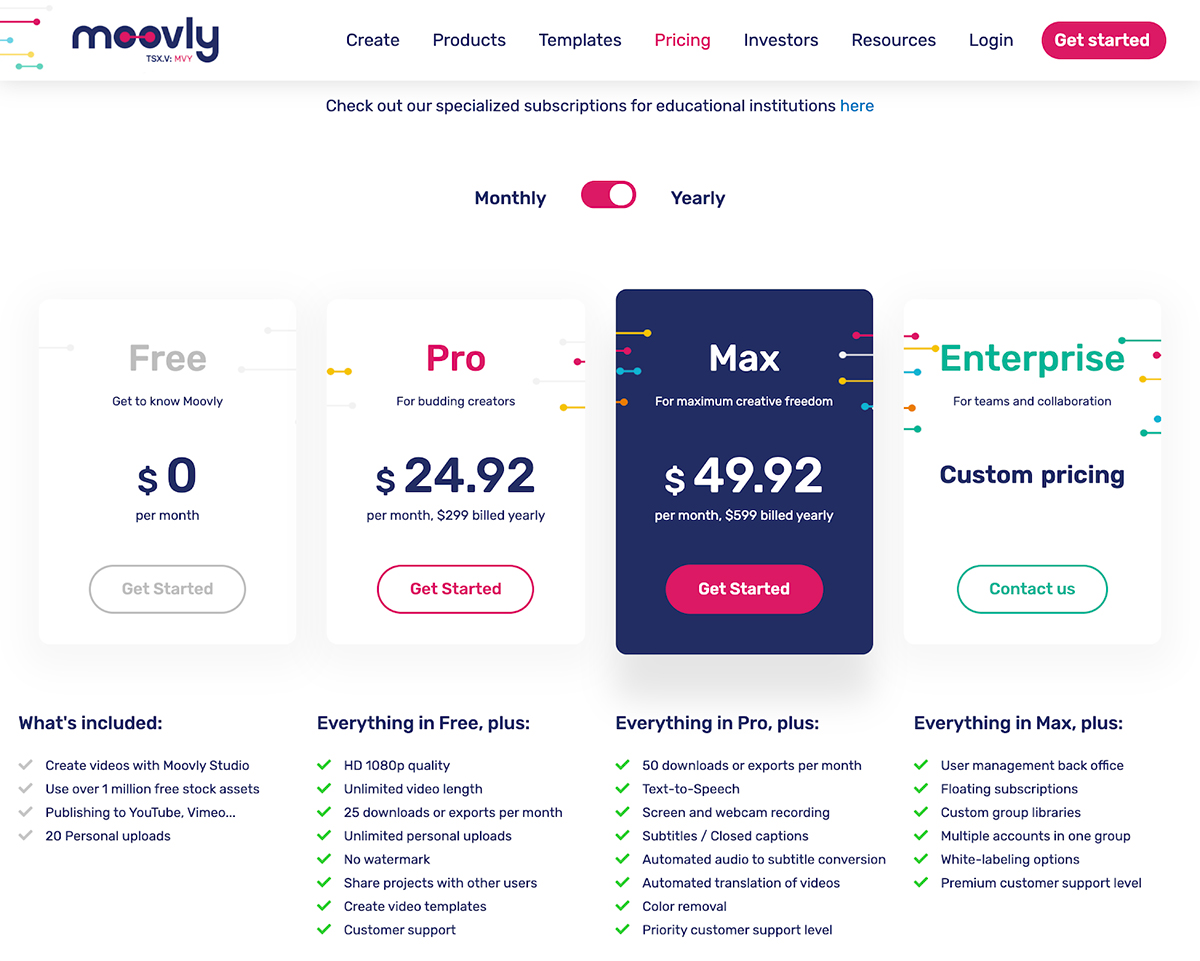 A screenshot of Moovly's pricing page.