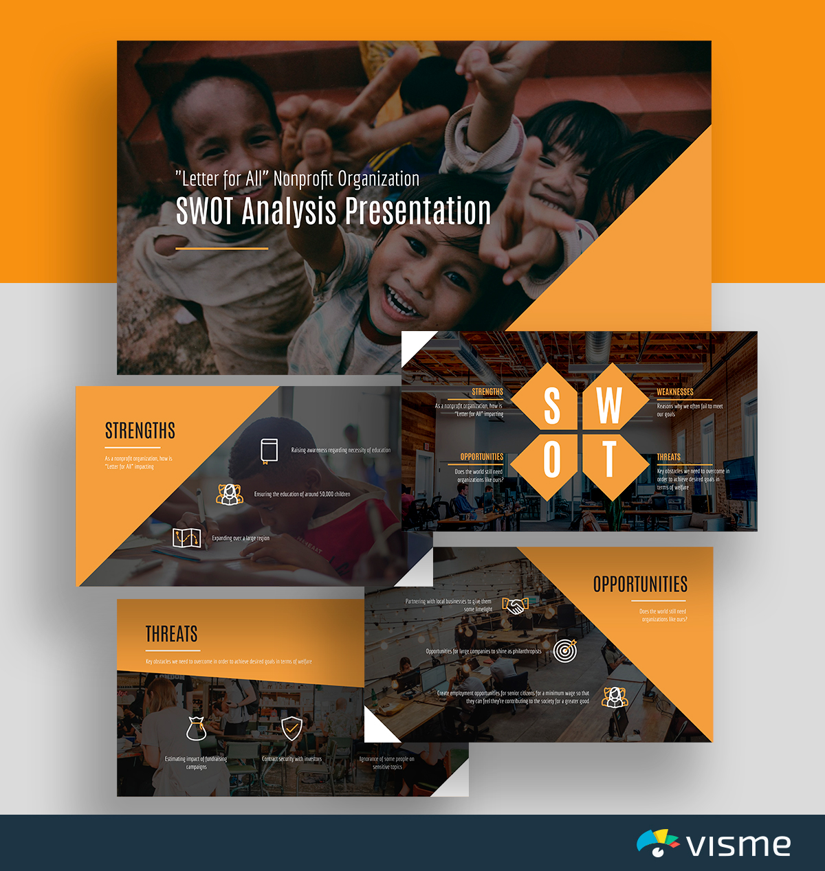 A black and orange nonprofit SWOT analysis template available in Visme.