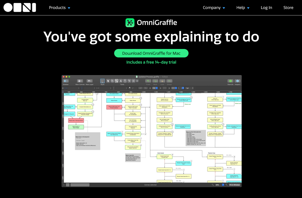 A screenshot of the OmniGraffle diagramming interface.
