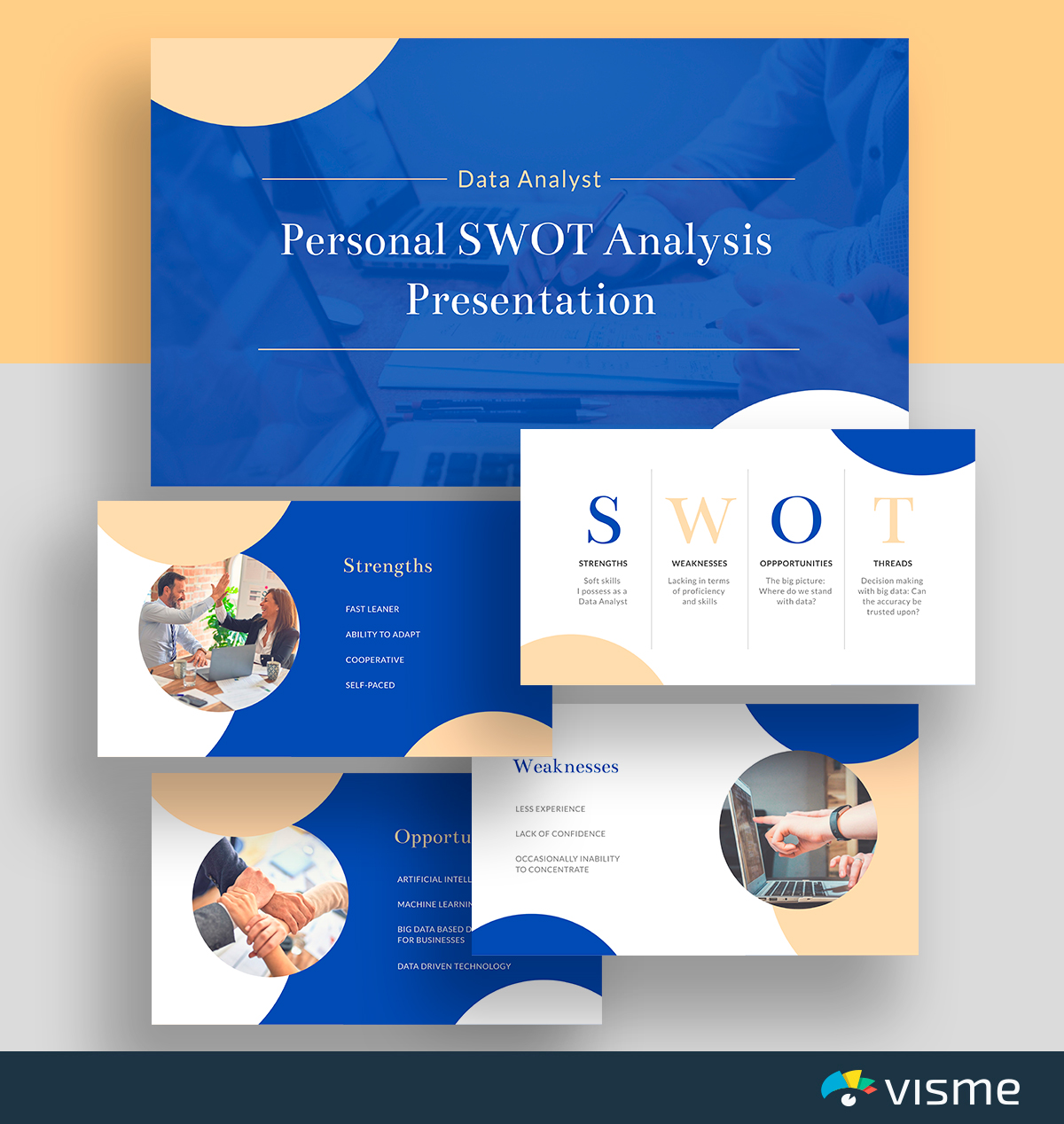 A blue and yellow personal SWOT analysis template available in Visme.