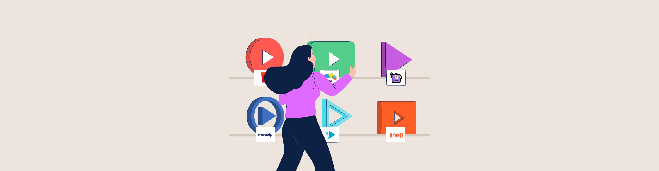 An illustration of a woman browsing different video tools on a shelf.
