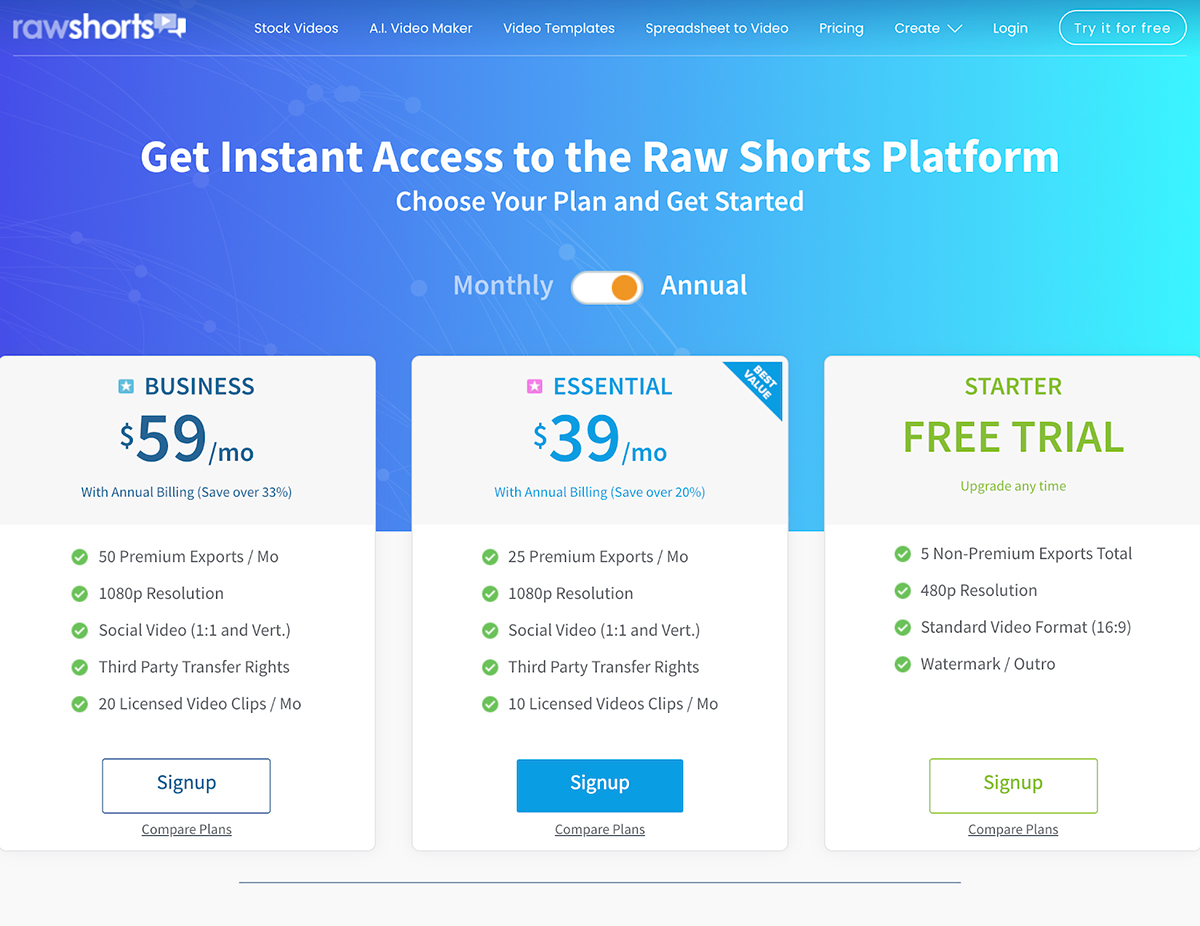 A screenshot of Raw Shorts' pricing page.