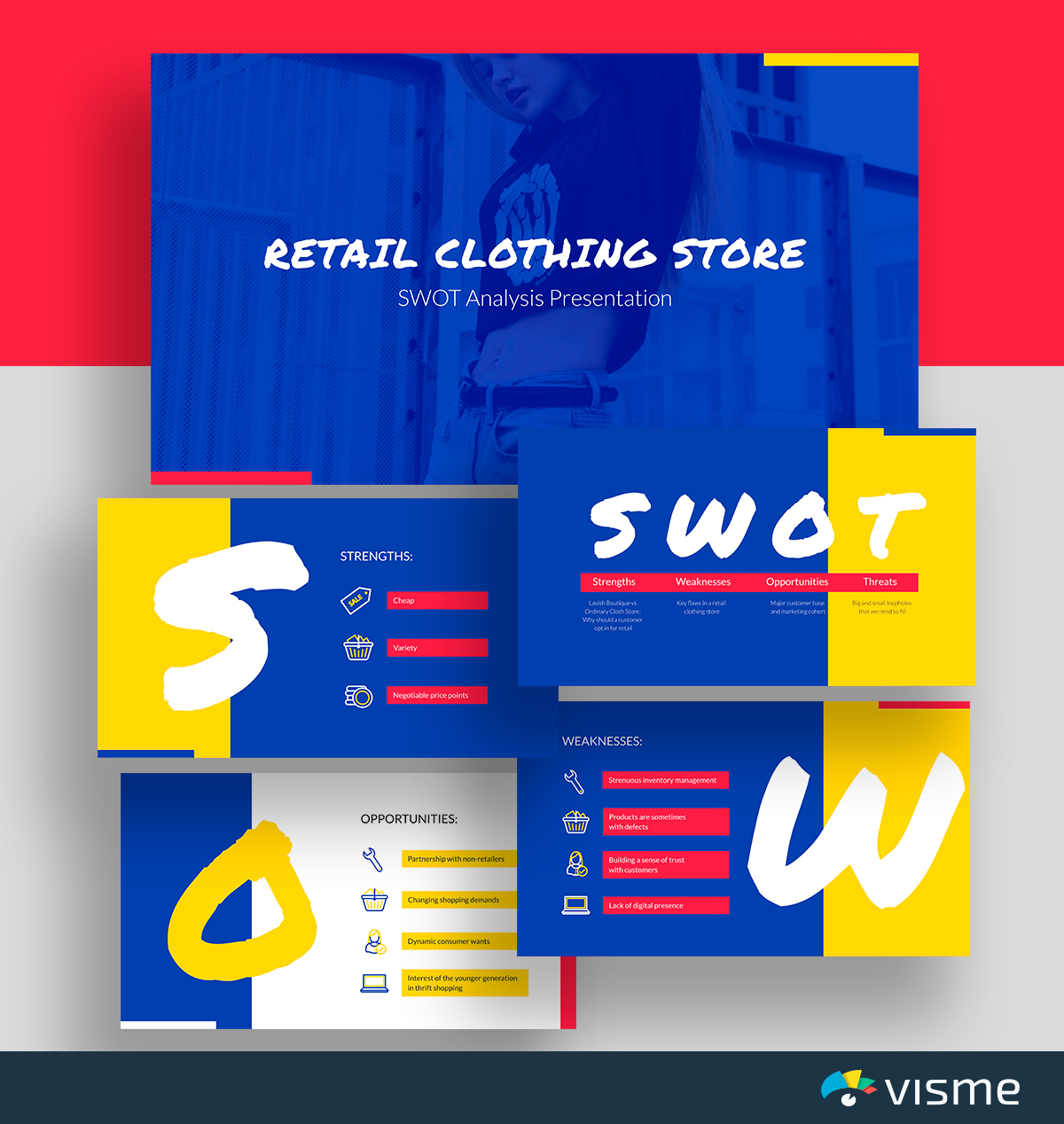 A blue, red and yellow retail SWOT analysis template available in Visme.