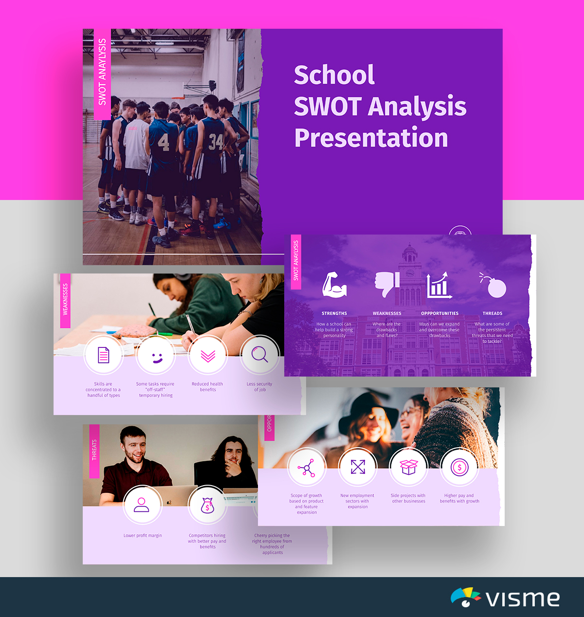 A purple and pink school SWOT analysis template available in Visme.