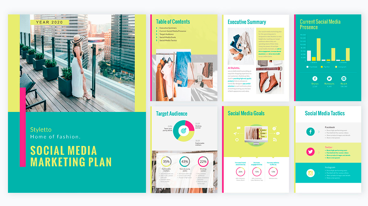 A social media marketing plan template available in Visme.