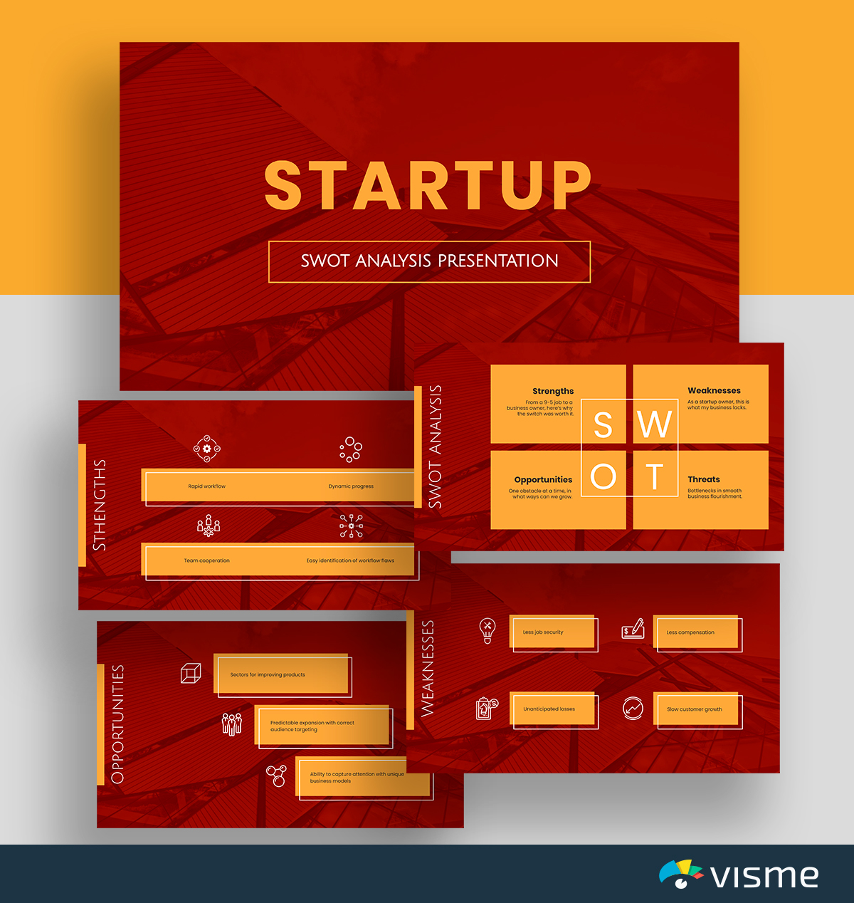 A red and orange startup SWOT analysis template available in Visme.