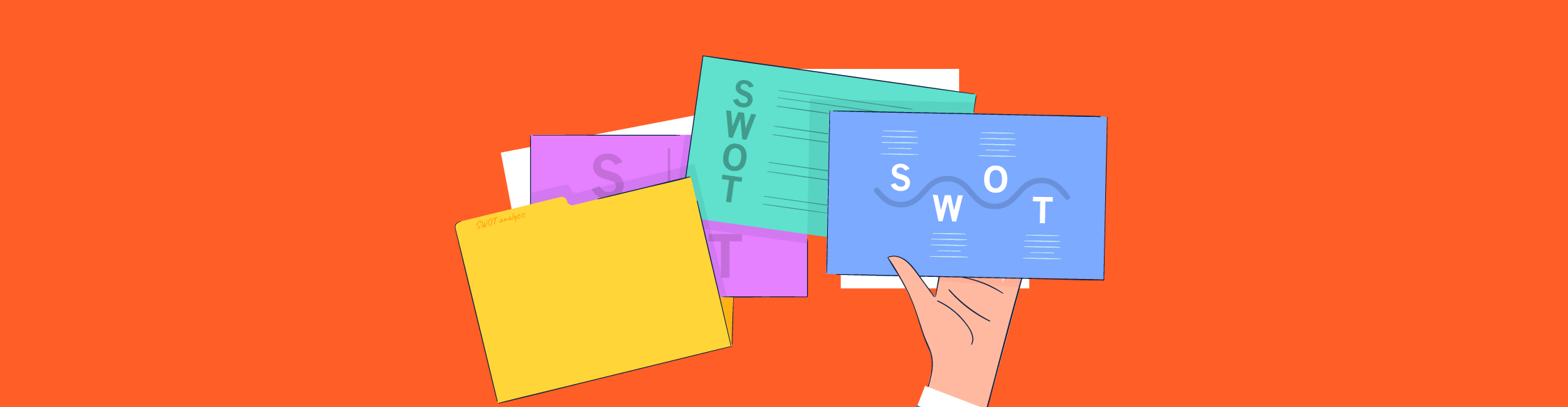 An illustration of SWOT analysis presentation slides being held up by a hand.