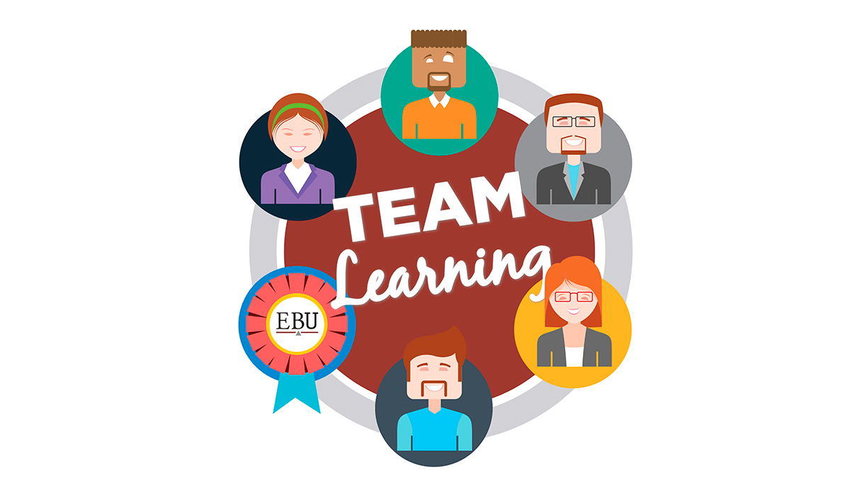 """An illustration of a team surrounding text that says, """"Team Learning."""""""