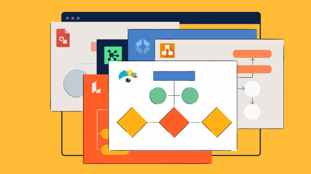 An illustration showcasing different diagramming tool interfaces.