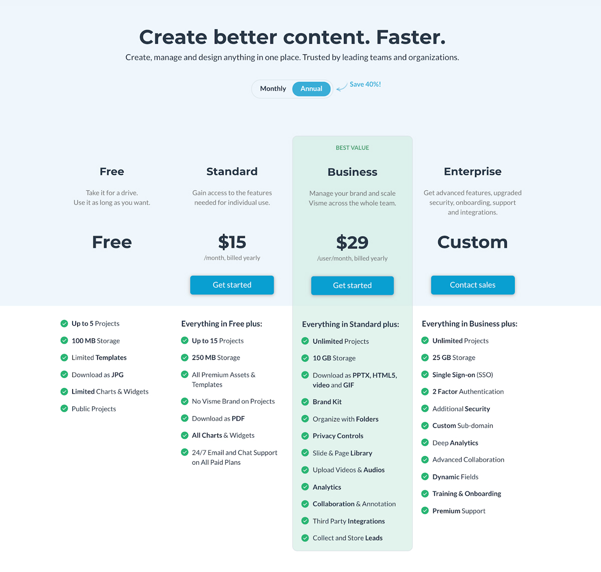 A screenshot of Visme's pricing page.
