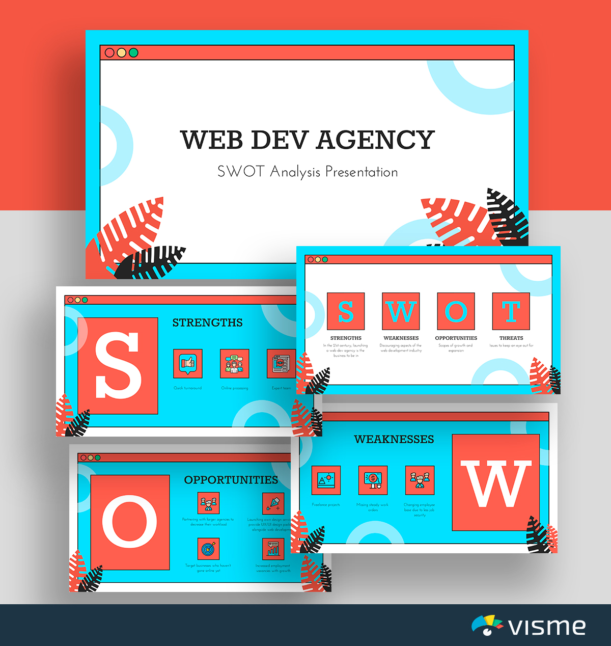 A blue, white and red web development SWOT analysis template available in Visme.