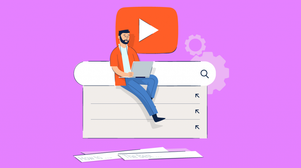 An illustration of a man sitting on the YouTube search bar.