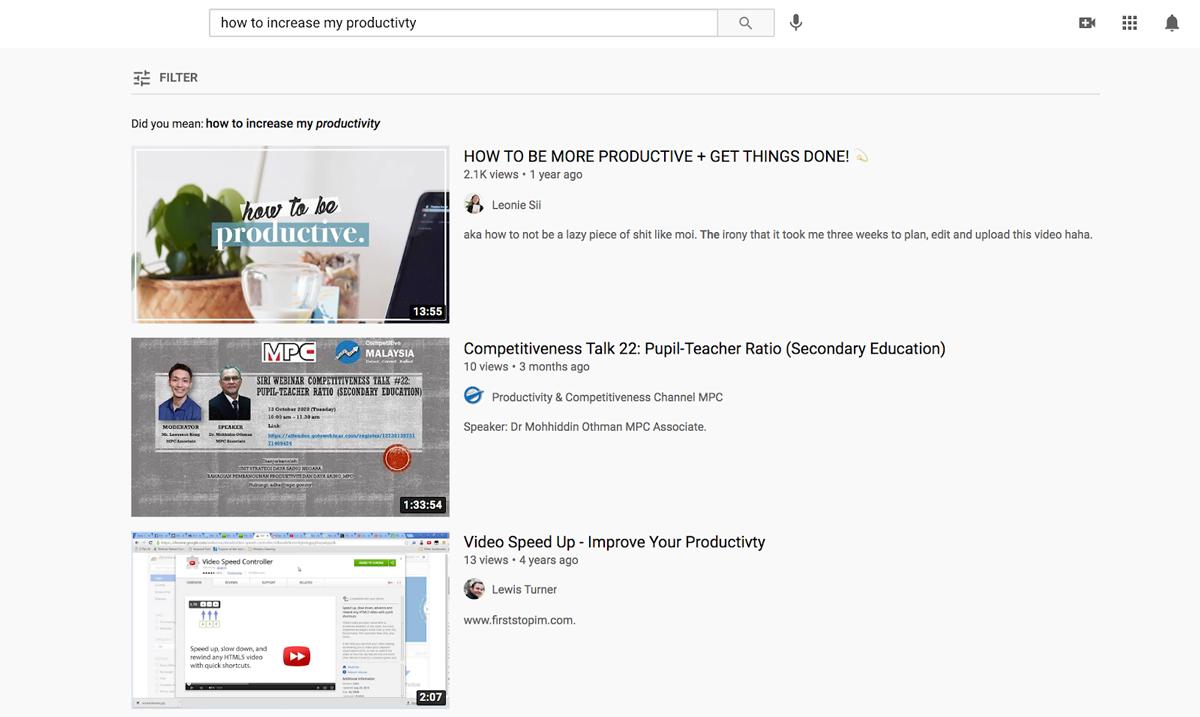 A screenshot of YouTube search results showcasing eye-catching thumbnails.