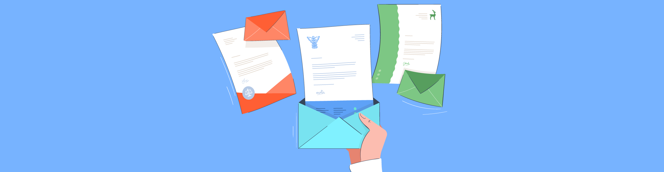 An illustration of someone holding a business letter flying out of an envelope.