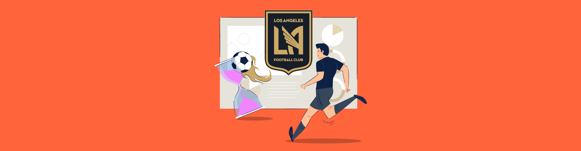 An illustration of a soccer player knocking over an hourglass with a soccer ball.