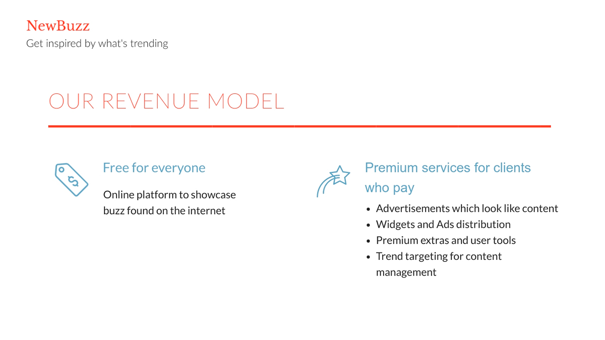 A revenue model pitch deck slide available to customize in Visme.