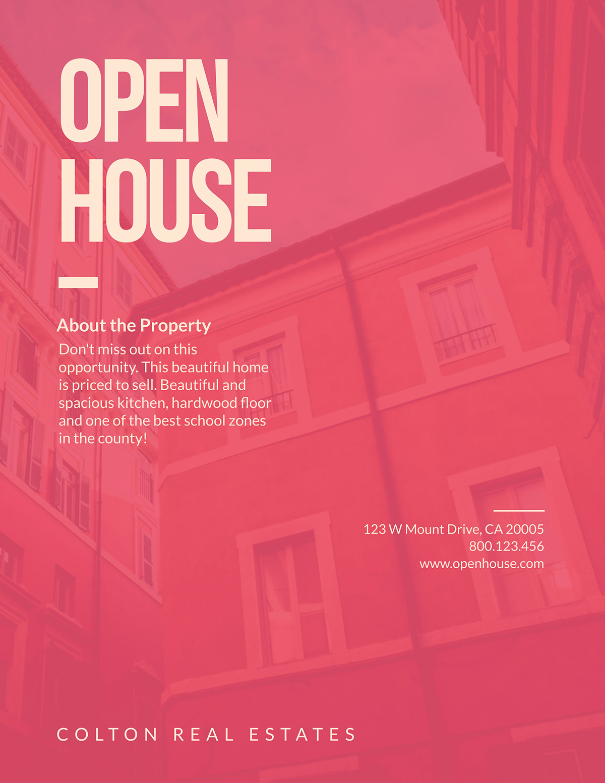 Open house flyer template available in Visme.