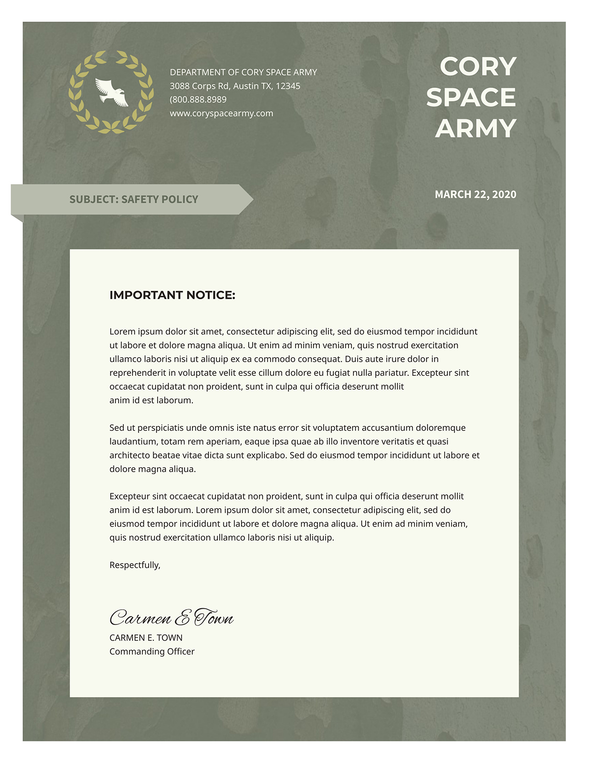 Green and tan business letter template available in Visme.