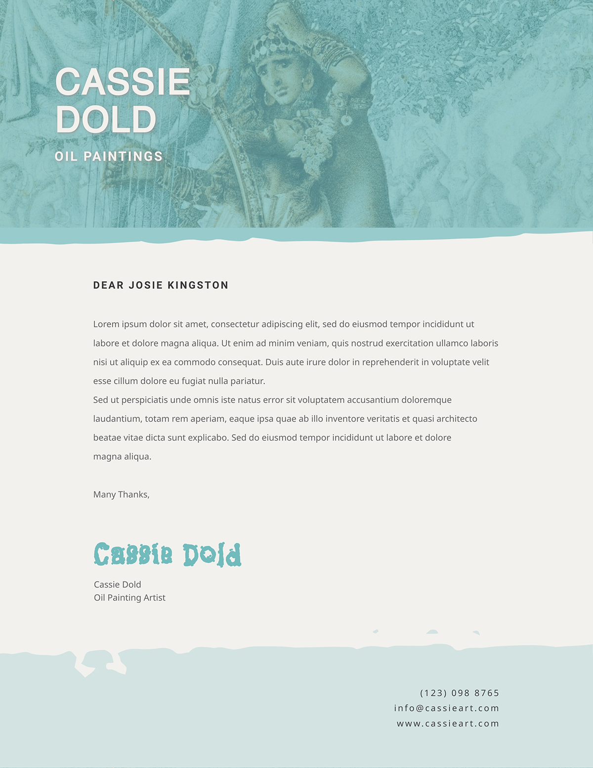 Blue and tan business letter template available in Visme.