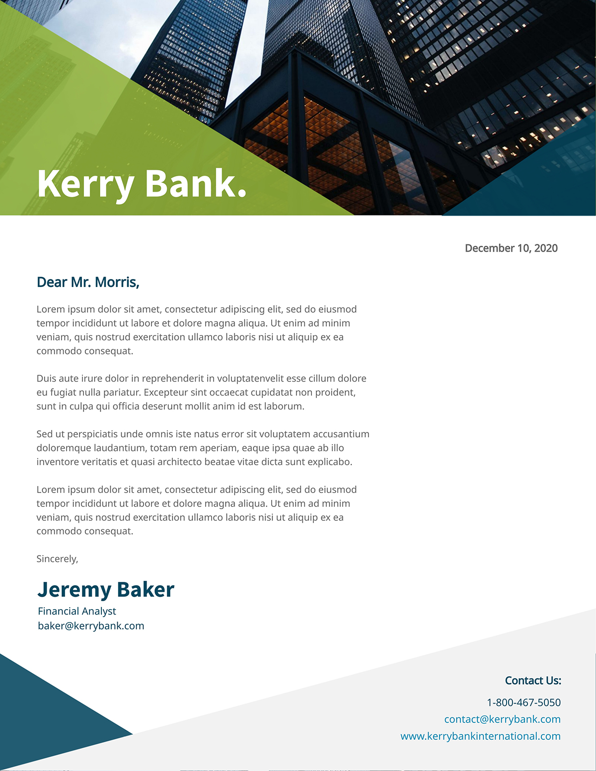 Green and blue business letter template available in Visme.