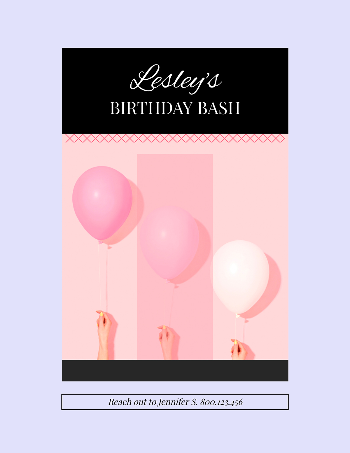 A purple and pink birthday flyer template available in Visme.