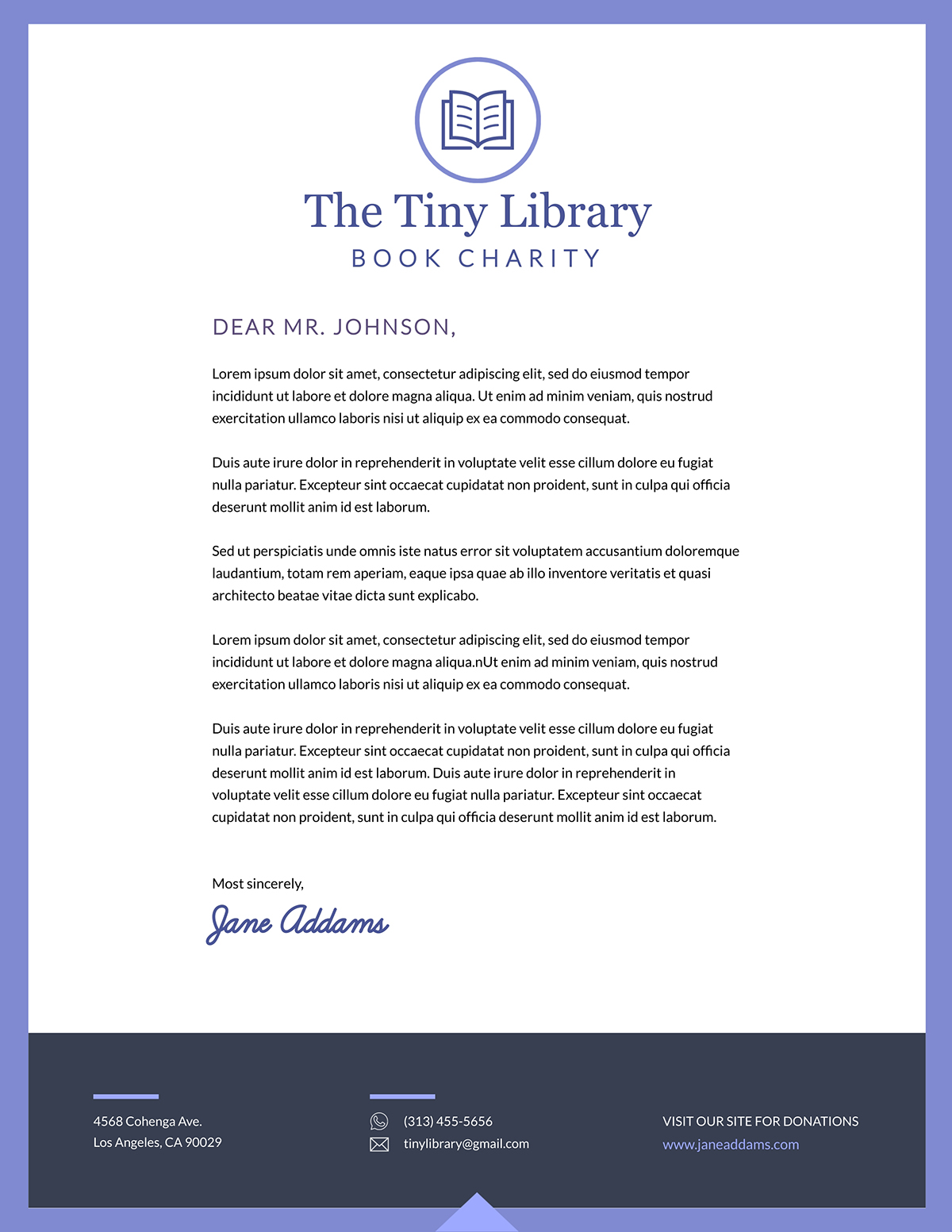 White and blue business letter template available in Visme.