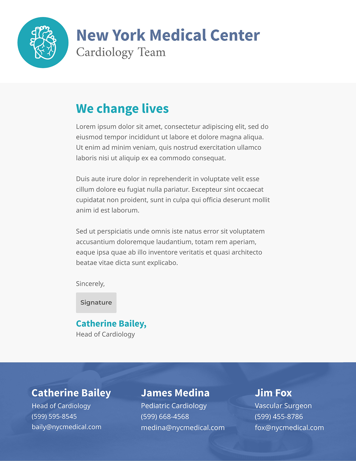 Blue and grey business letter template available in Visme.