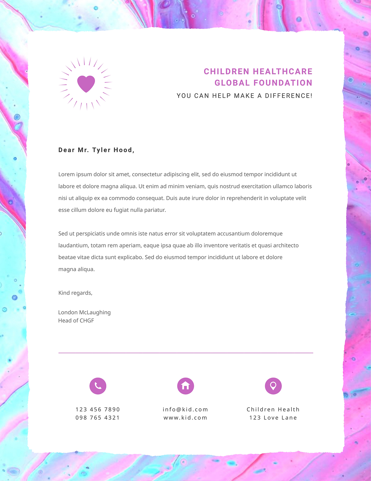 Blue and pink business letter template available in Visme.