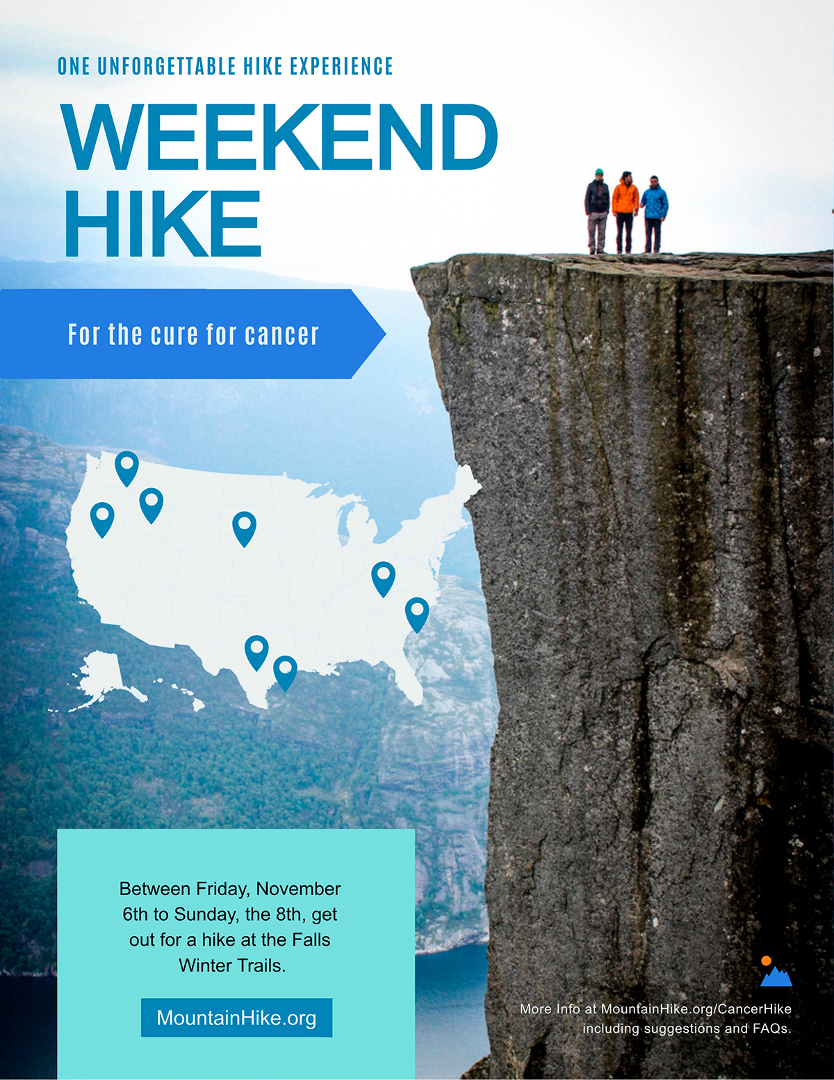 Hiking flyer template available in Visme.