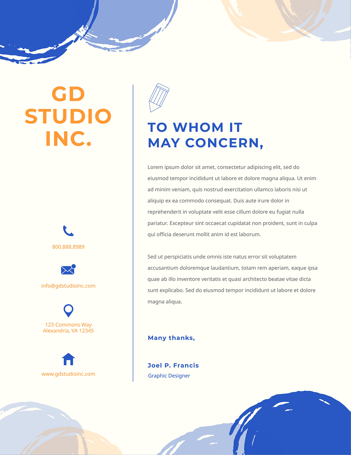 Blue and orange business letter template available on Visme.