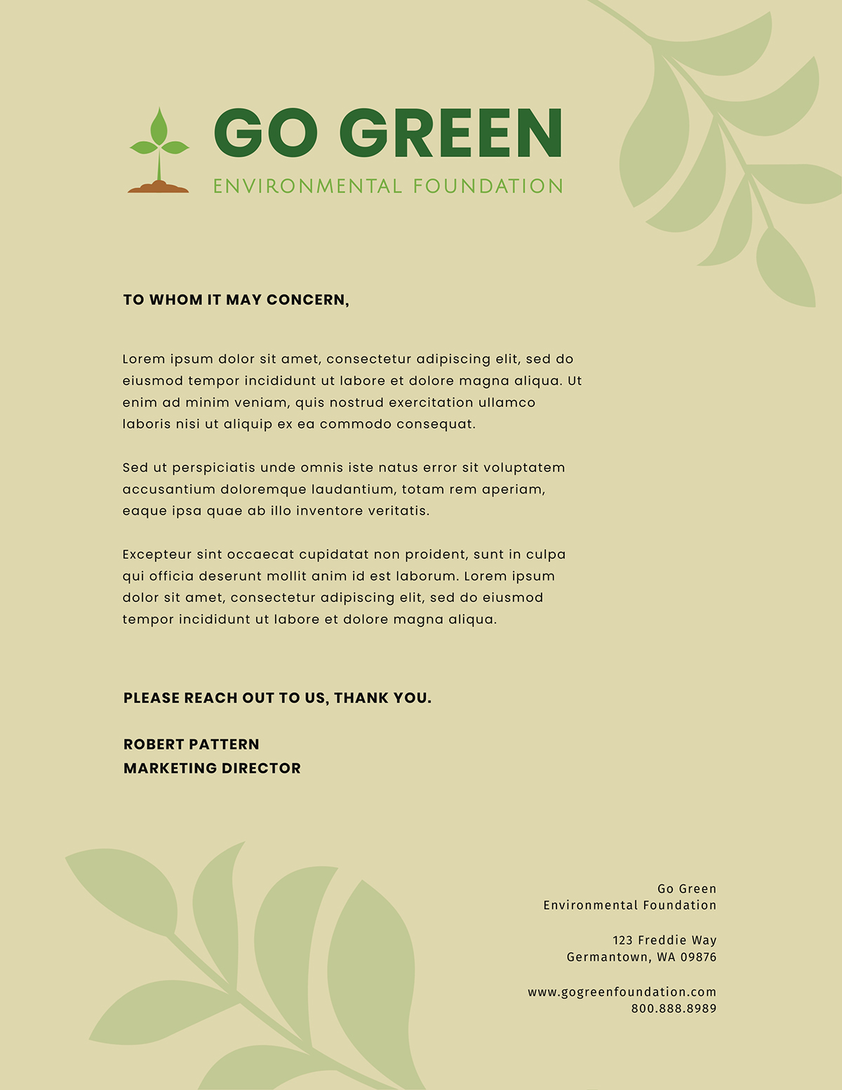 A green, nature-focused business letter template available in Visme.