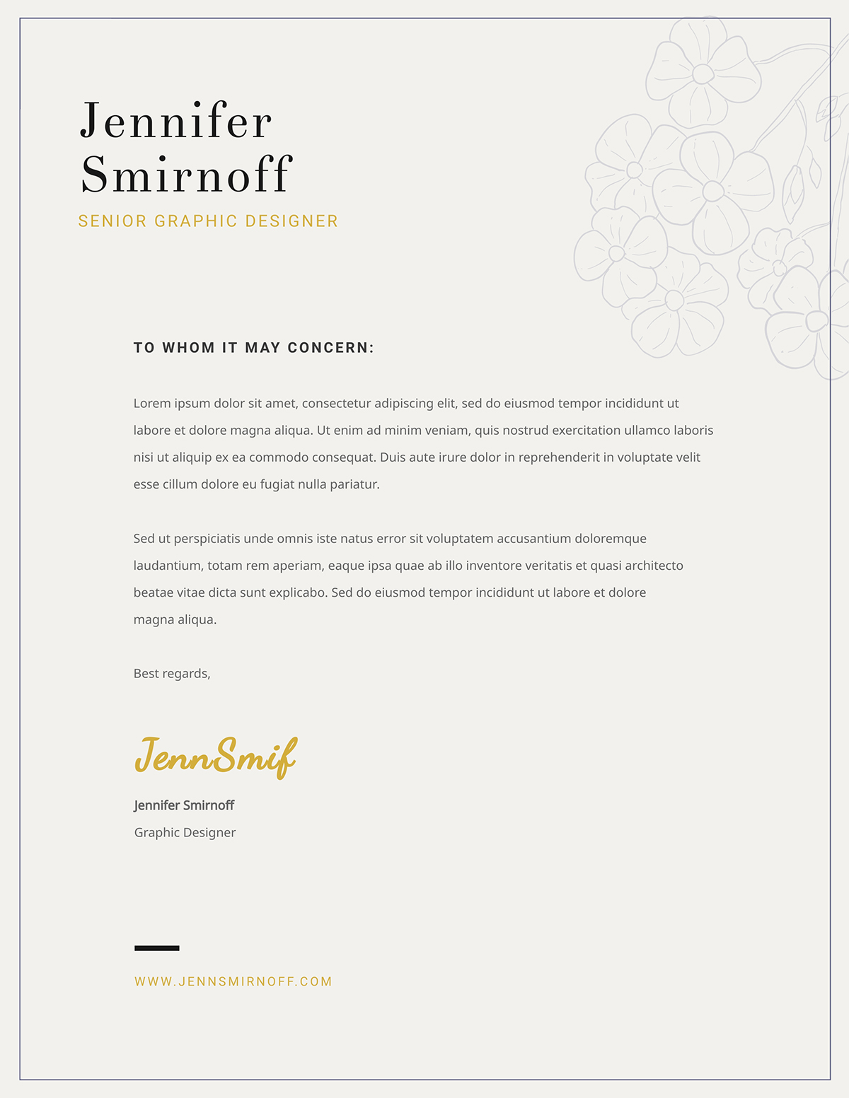 A minimalistic business letter template available in Visme.