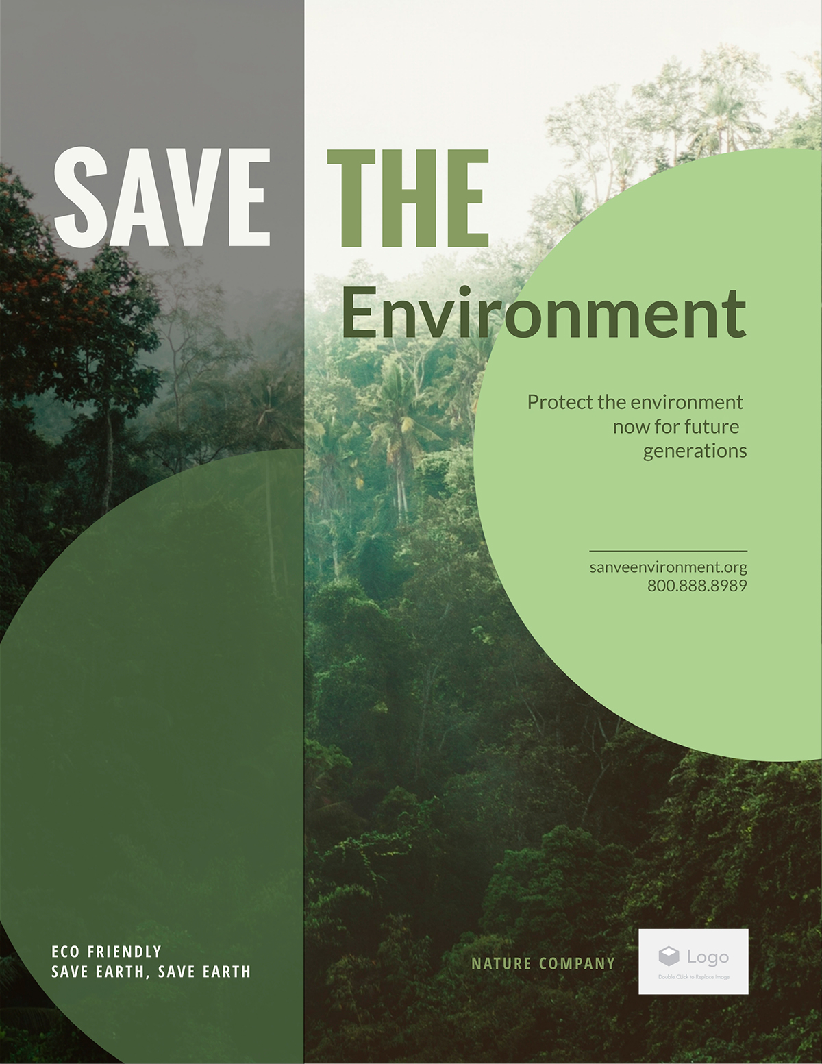 Environmental nonprofit flyer template available in Visme.
