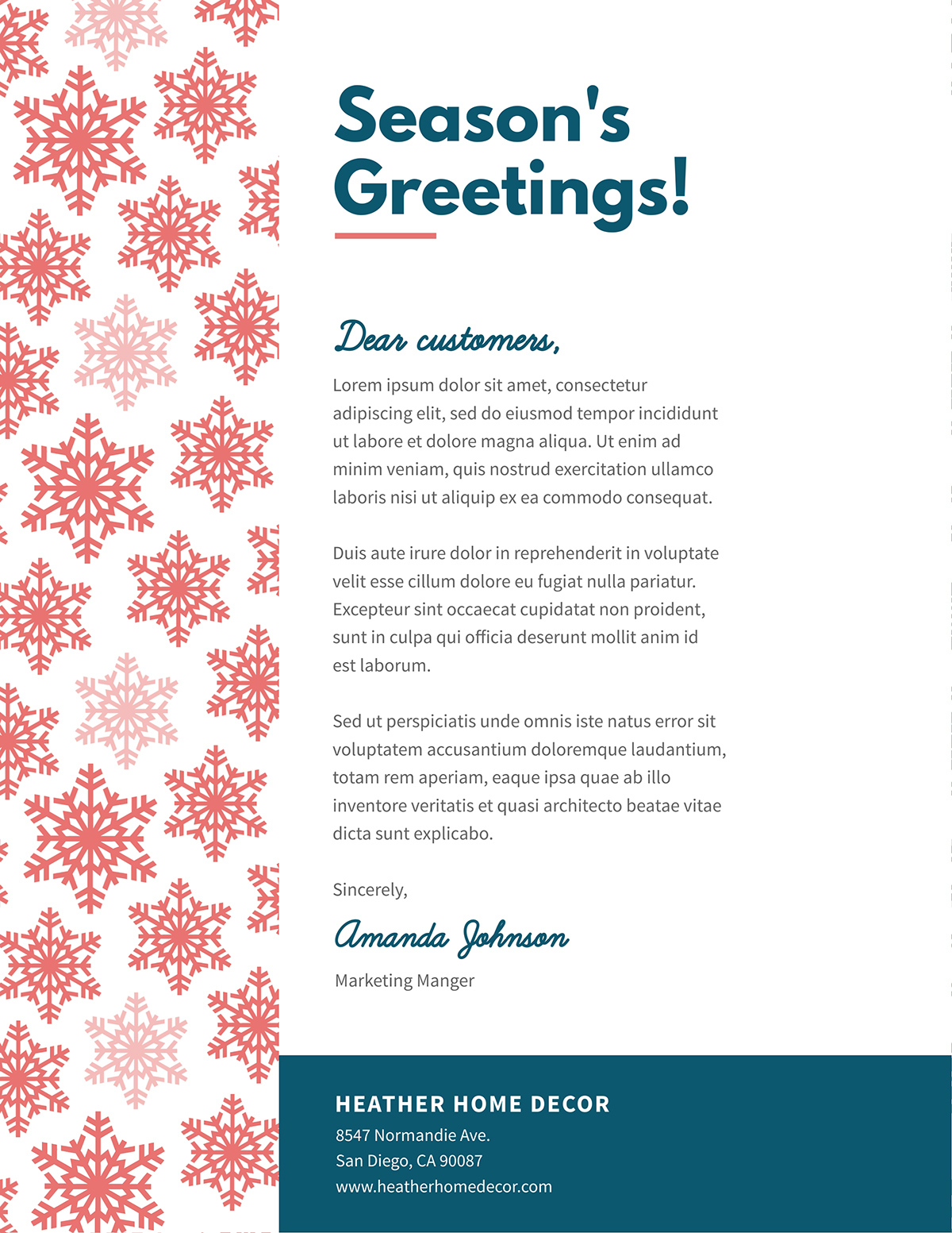 Holiday business letter template available in Visme.