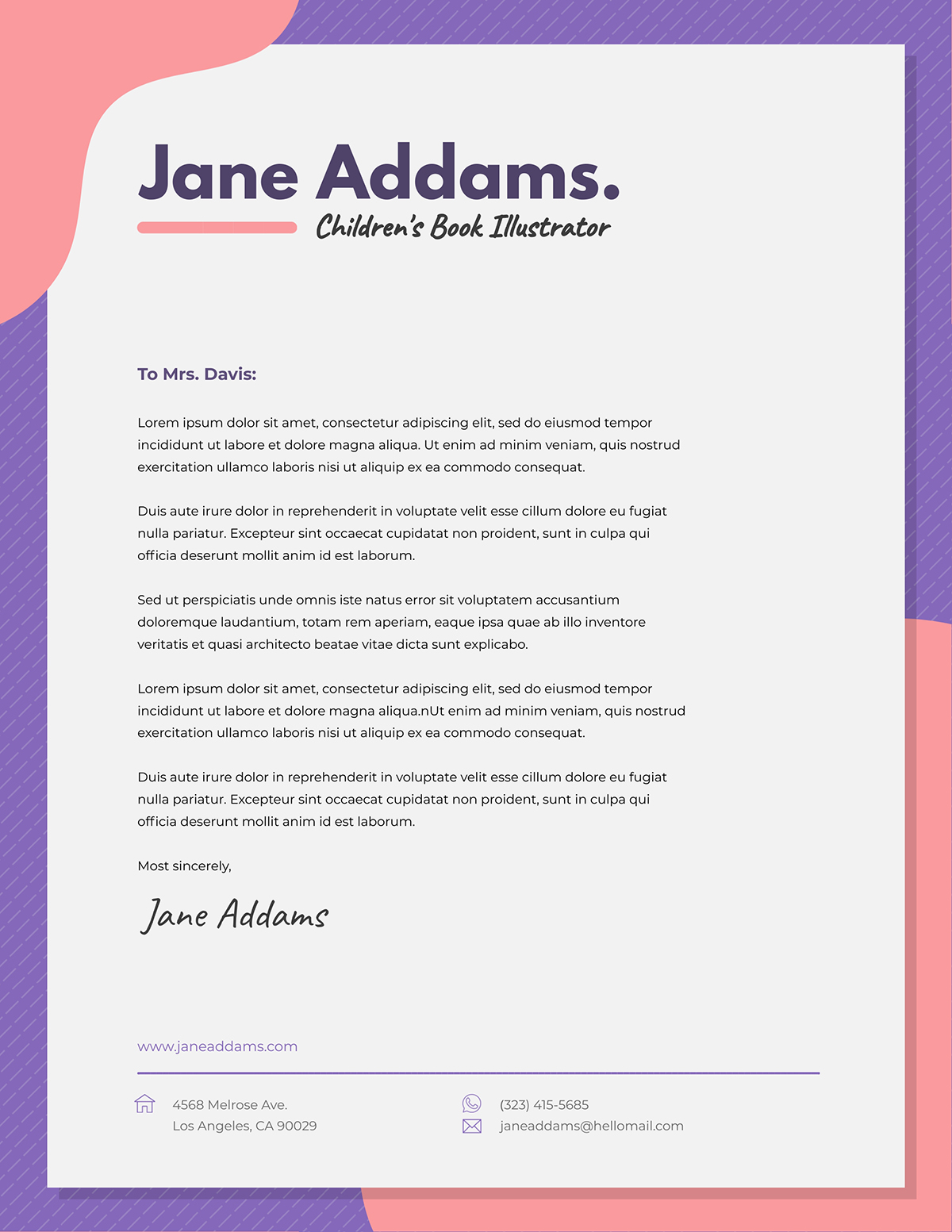 Pink and purple business letter template available in Visme.