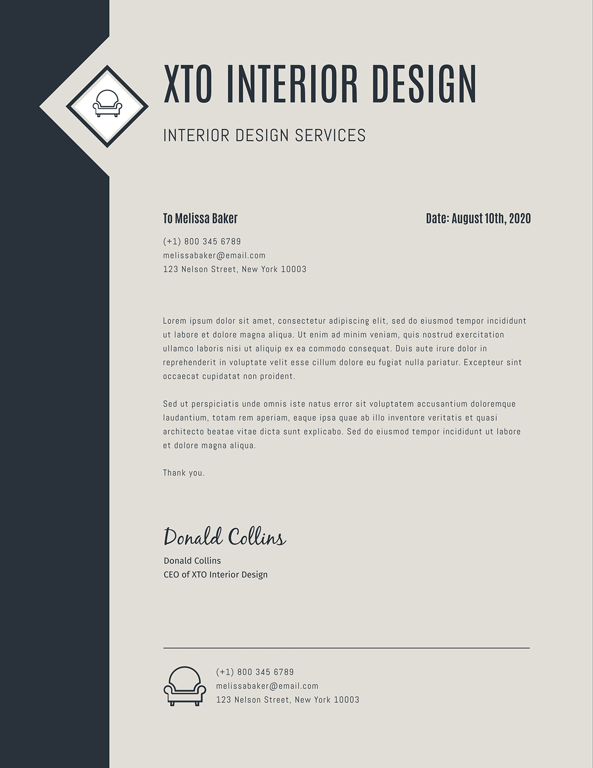 Black and grey business letter template available on Visme.