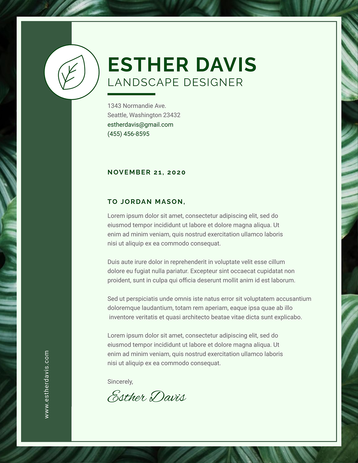 Green and leafy business letter template available in Visme.
