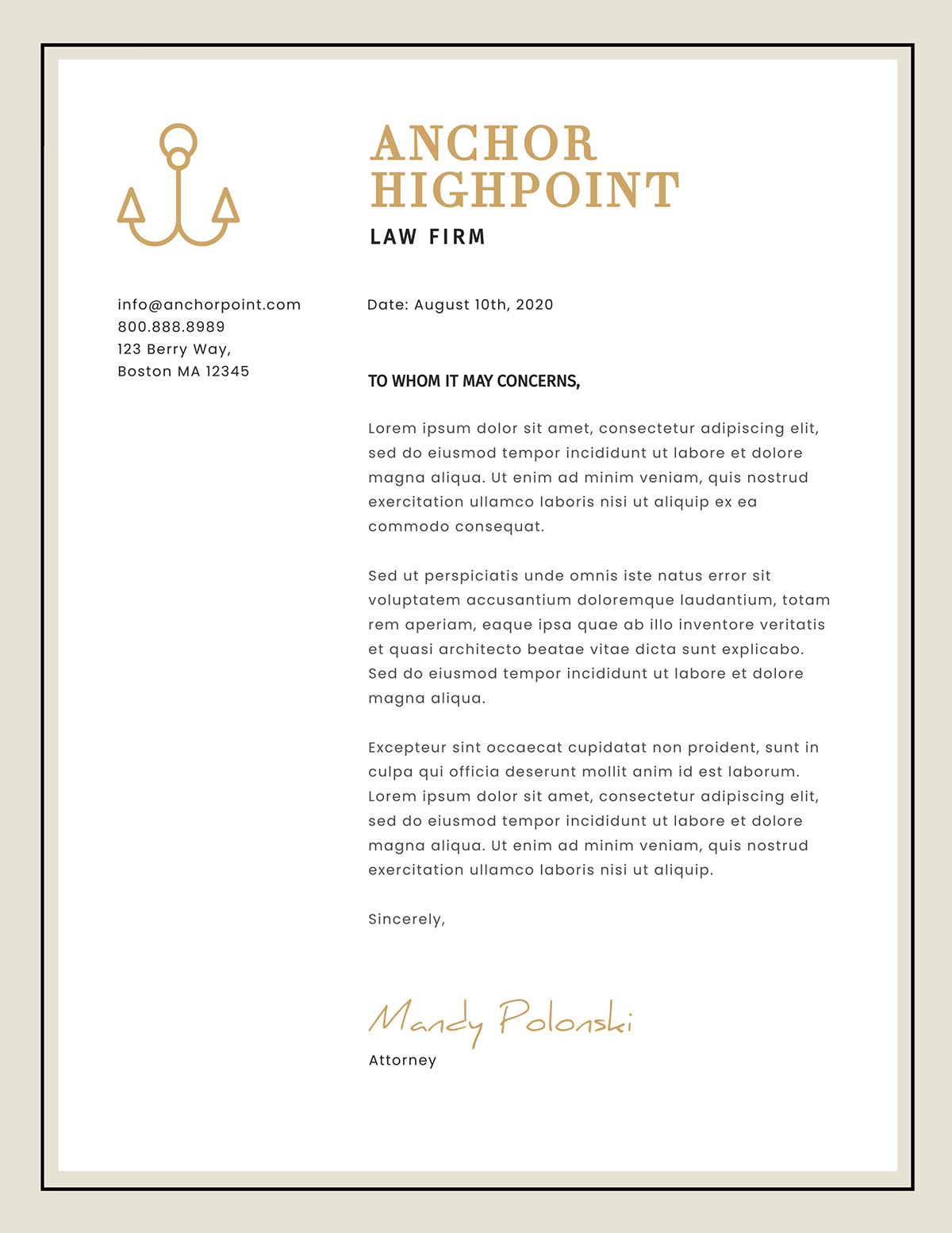 White and gold business letter template available in Visme.