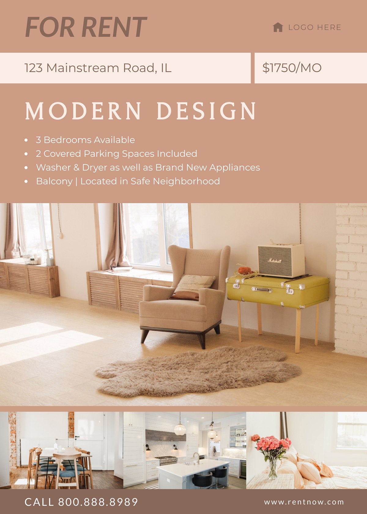 An apartment for rent flyer template available in Visme.